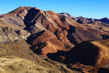 picturesque landscape with Tibetan plateau mountains. Amazing panorama of wilderness