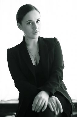 business lady background studio. Hiring professional portrait woman in formal suit