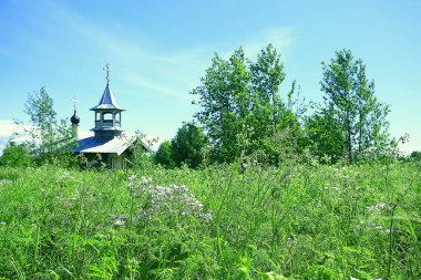 Monastery Murom on Lake Onega, Russia, building church, landscape in summer