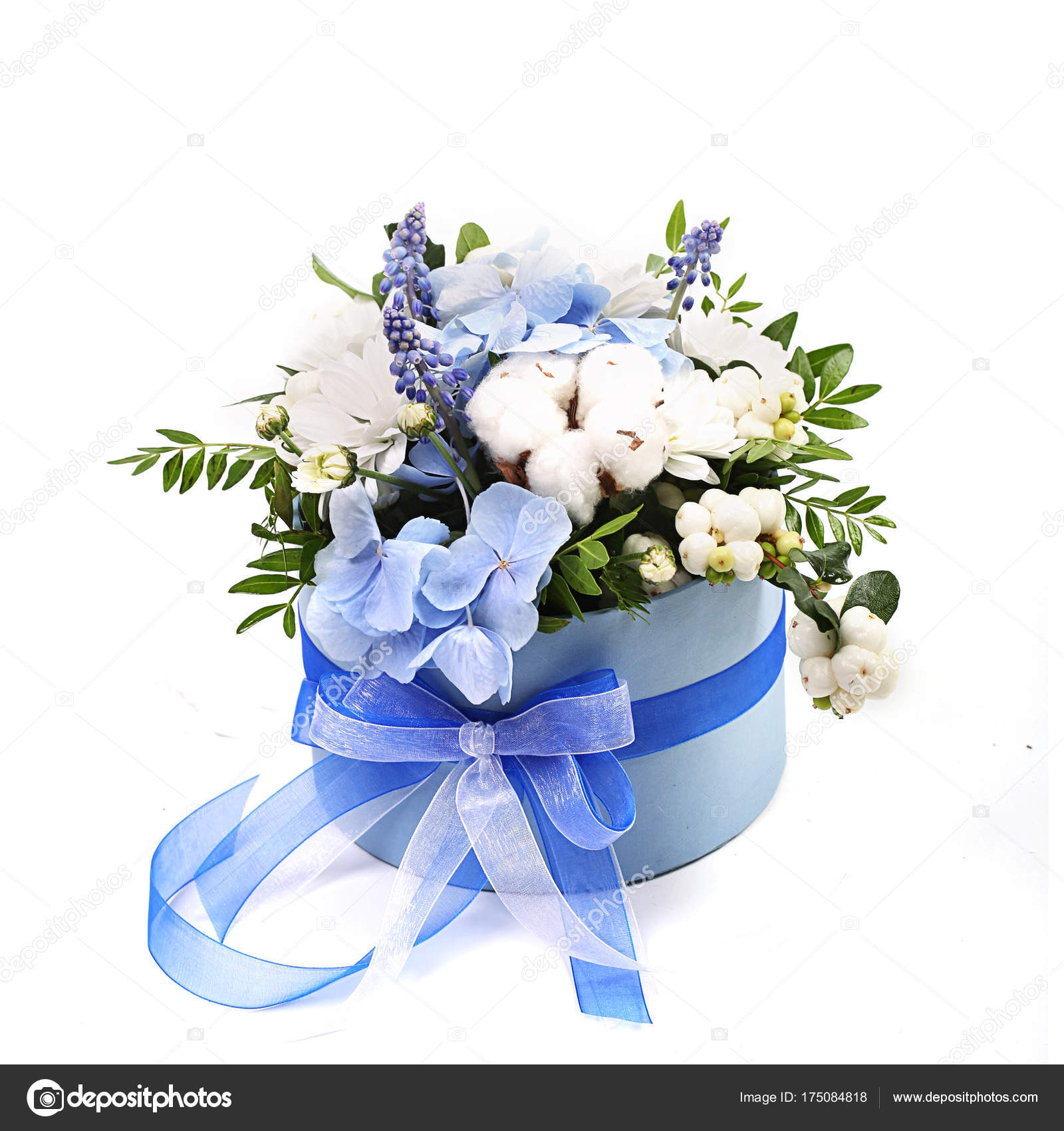 Bouquet of different green red yellow blue and purple flowers on bouquet of different green red yellow blue and purple arranged in lush bouquet in gift box isolated on white background photo by art2435 mightylinksfo