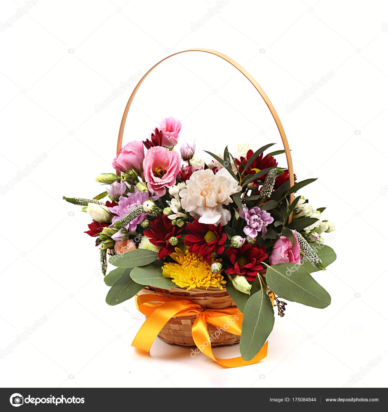 Bouquet Of Different Green Red Yellow Blue And Purple Flowers On White Stock Photo C Art2435 175084844
