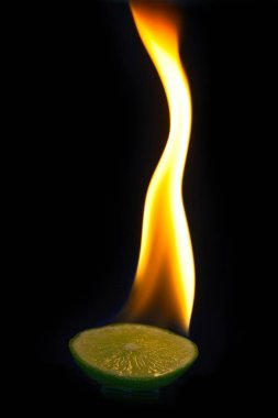 blaze on a part of lime with black background