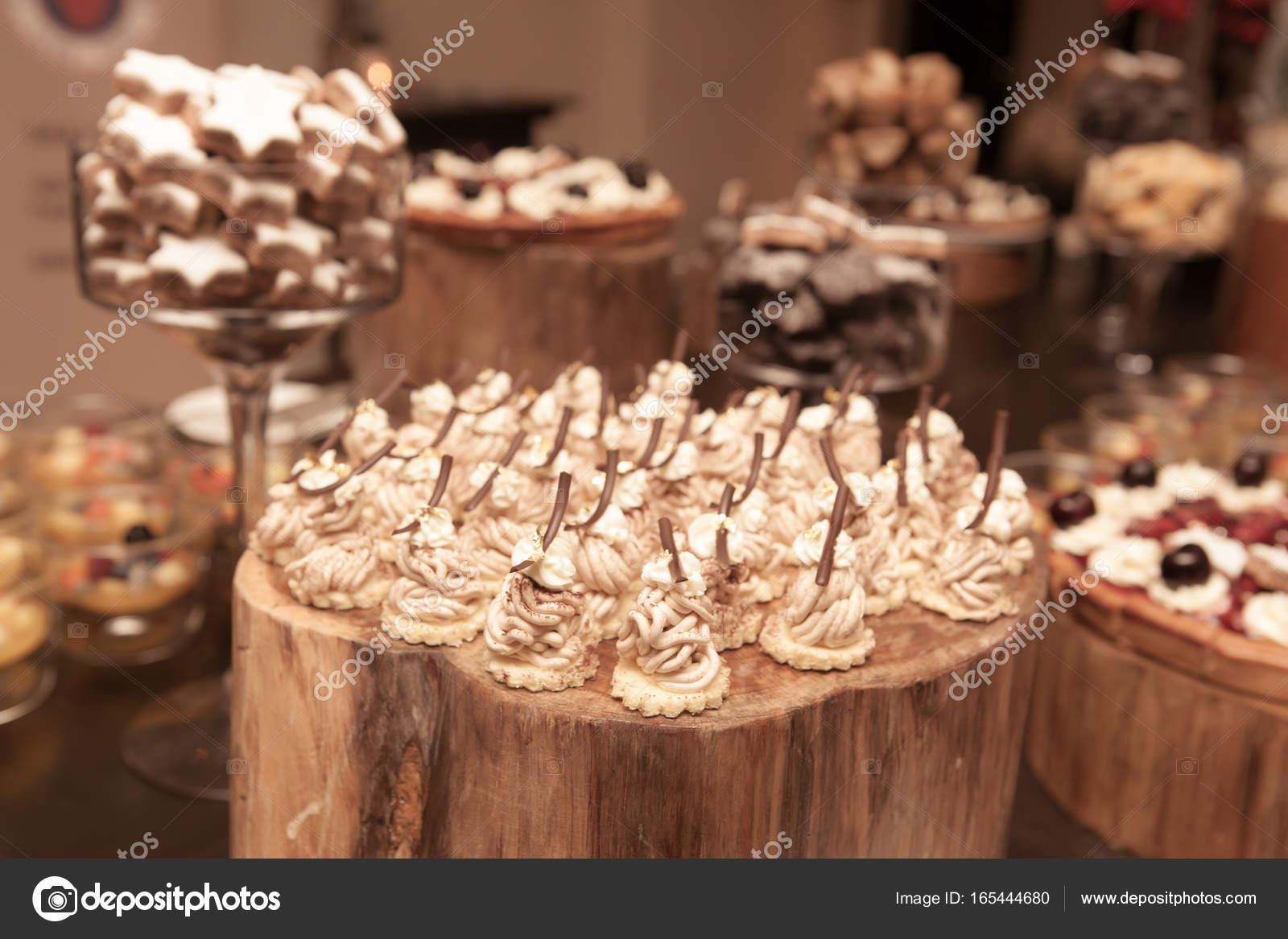 Decoration Of Dessert On Wood Table In The Restaurant With Vinta