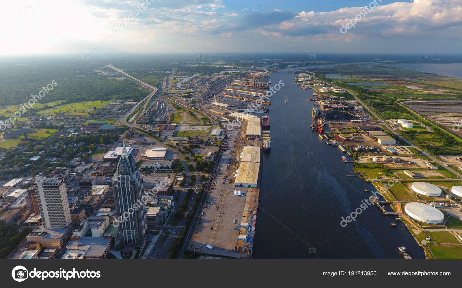 Pictures : mobile alabama | Aerial View Downtown Mobile