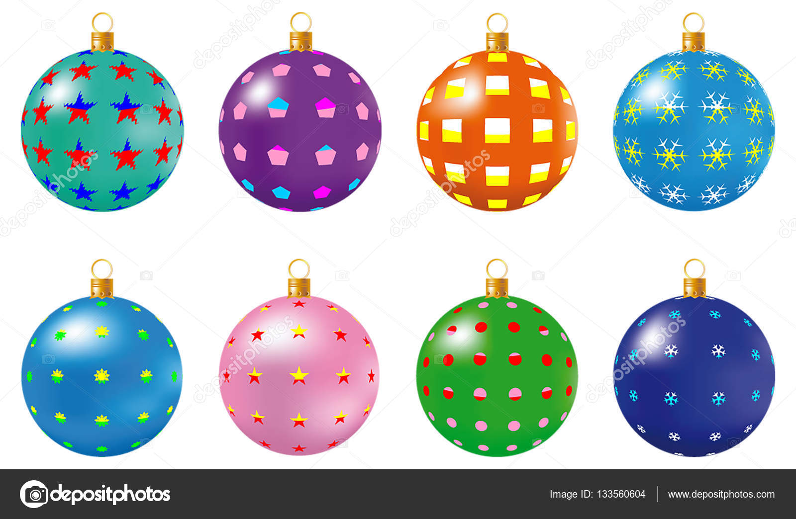 Colorful Christmas Balls.Colorful Christmas Balls Set Of Isolated Realistic