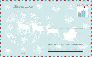Travel postcard vector santa air mail style.