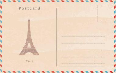 Vintage postcard. Vector design. Capitals of the world. Paris