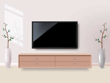 Black LED tv television screen blank on white wall background