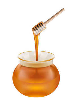 Glass jar of honey with wooden drizzler isolated on white backgr