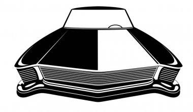 Retro muscle car vector illustration. Vintage poster of reto car