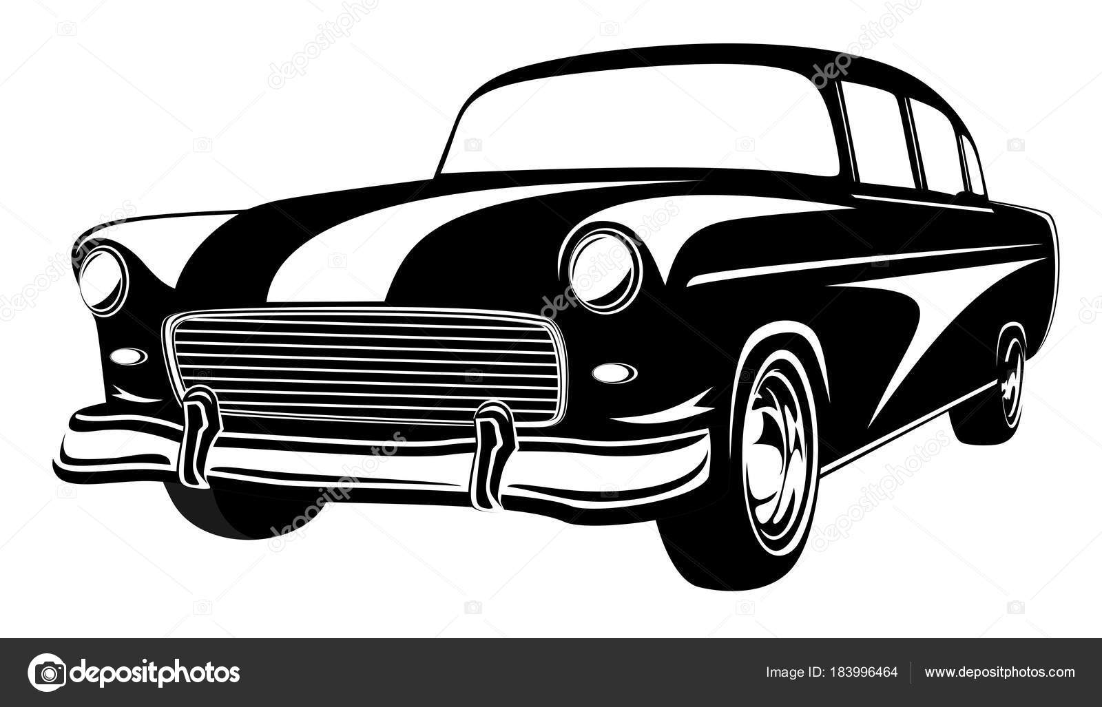 Retro-Muscle-Car-Vektor-Illustration. Oldtimer. Altes Handy ist ...