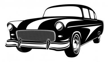 Retro muscle car vector illustration. Vintage car. Old mobile is