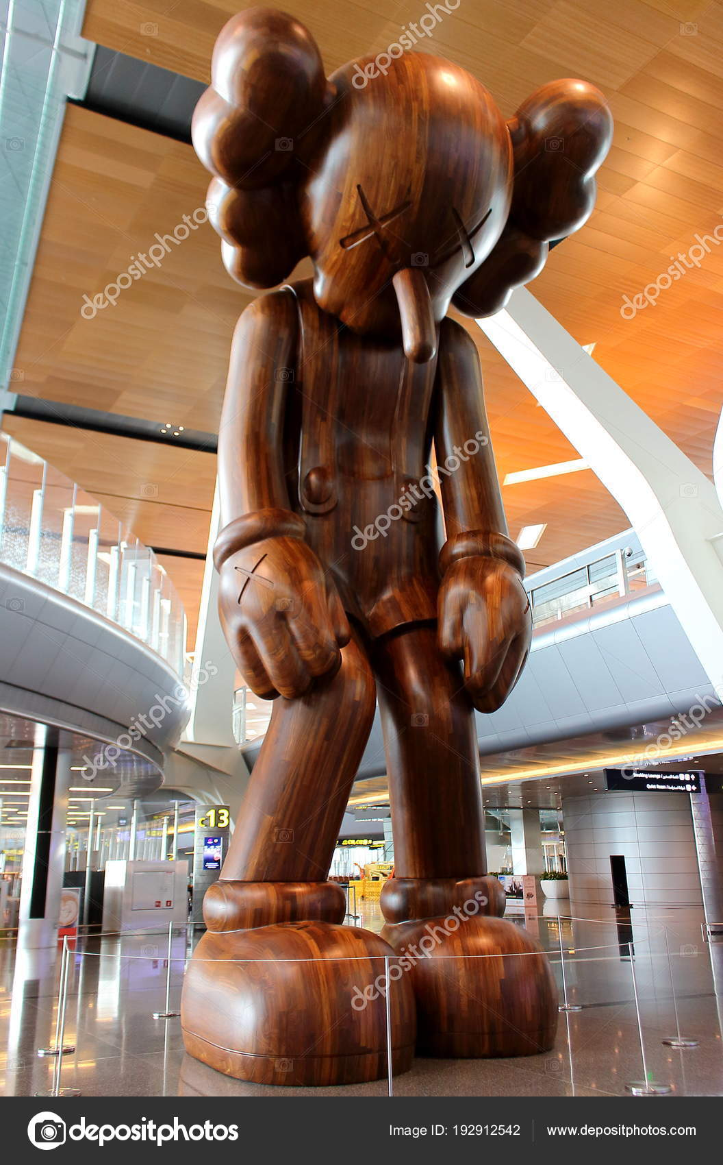 585ee75b Wooden marionette SMALL LIE from Brian Donnelly the american pop artist and  designer known professionally as KAWS. Soft focus — Photo by Al.geba