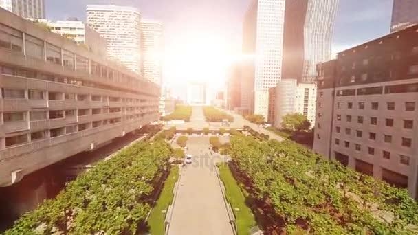město zobrazit Panorama Panorama budov slunce vrtulník létat nad městem