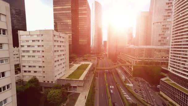 krásné město panorama pohled na západ slunce světlo letecký pohled mrakodrapy