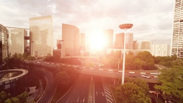 Panorama mrakodrapů městské panoráma dopravní silniční ulice letecký pohled