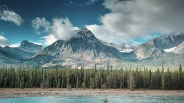 aerial of athabasca river in jasper