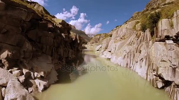 flying through epic canyon river landscape nature background
