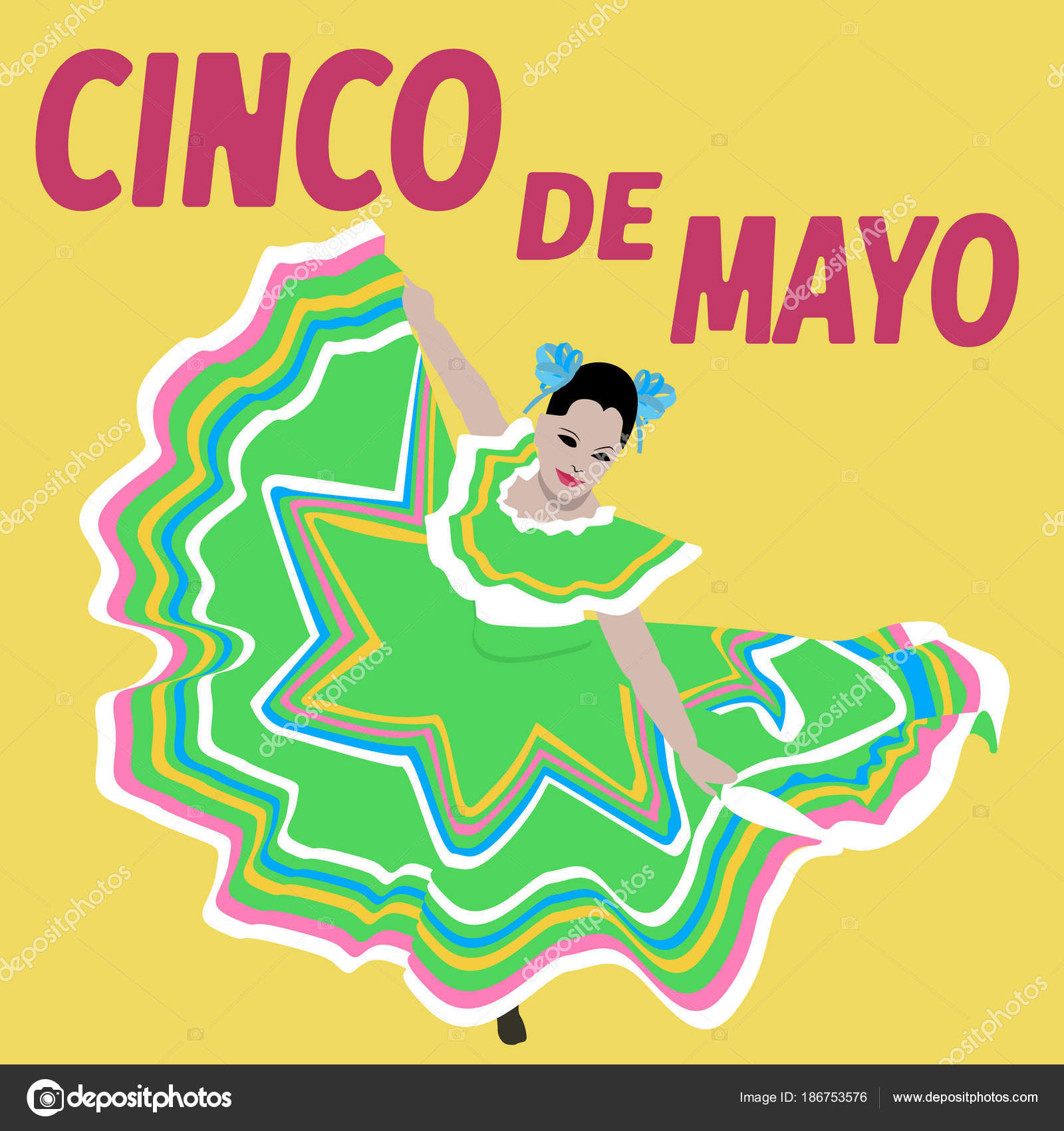 Illustration Cinco De Mayo Holiday Bunting Background Mexican Poster