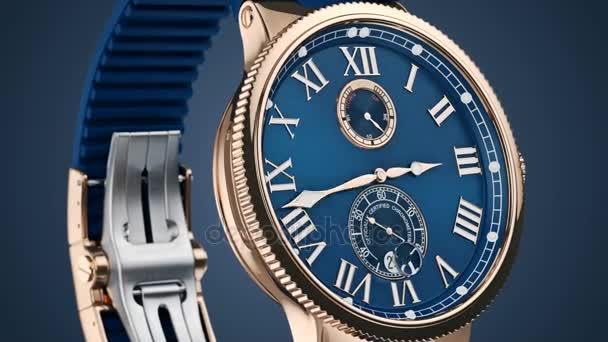 Наручные часы циферблат, крупным планом — Стоковый видеоролик ... c4a7efd907f