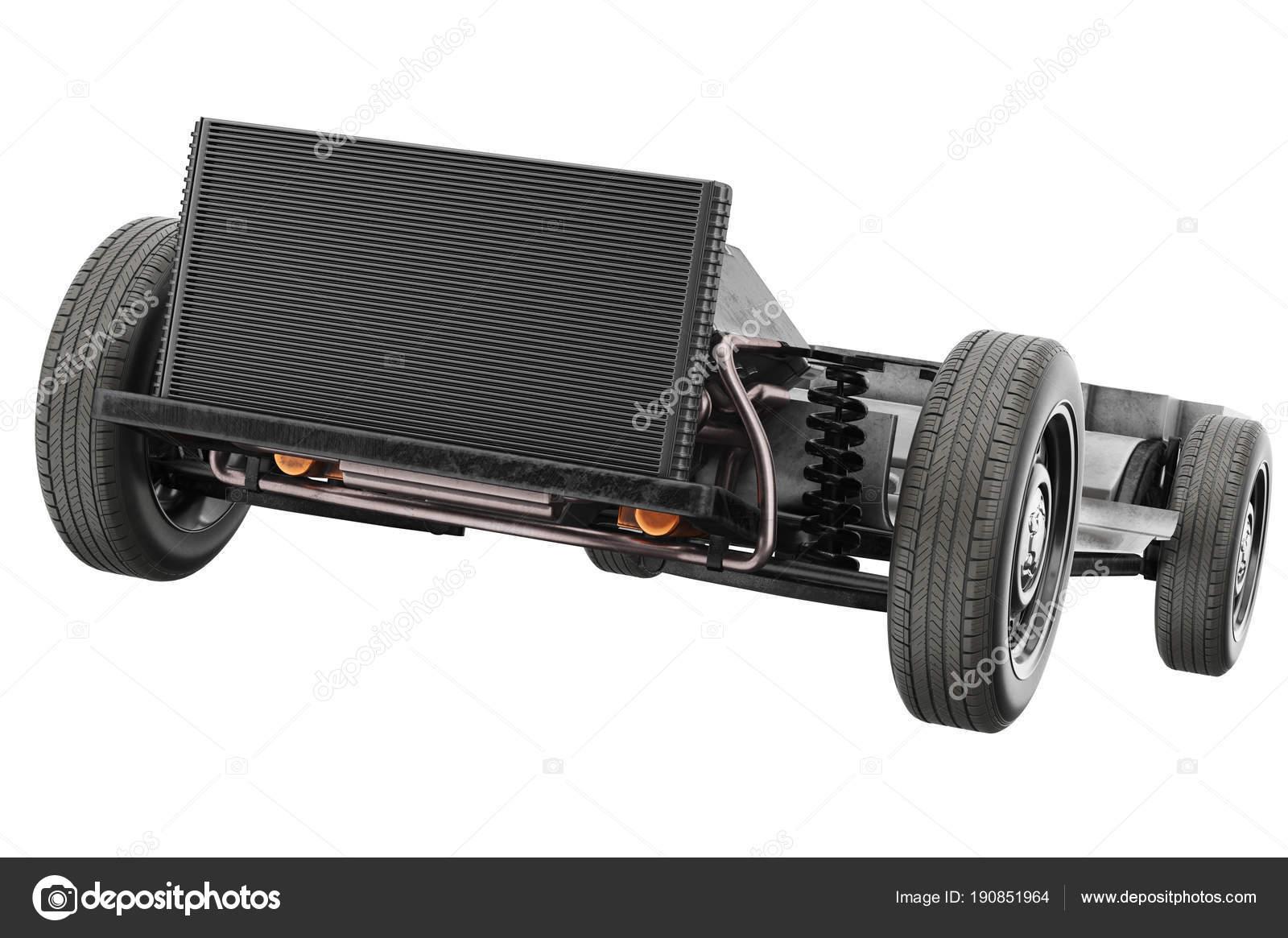 Chassis Rahmen Auto mit schwarzen Heizkörper, Nahaufnahme ...