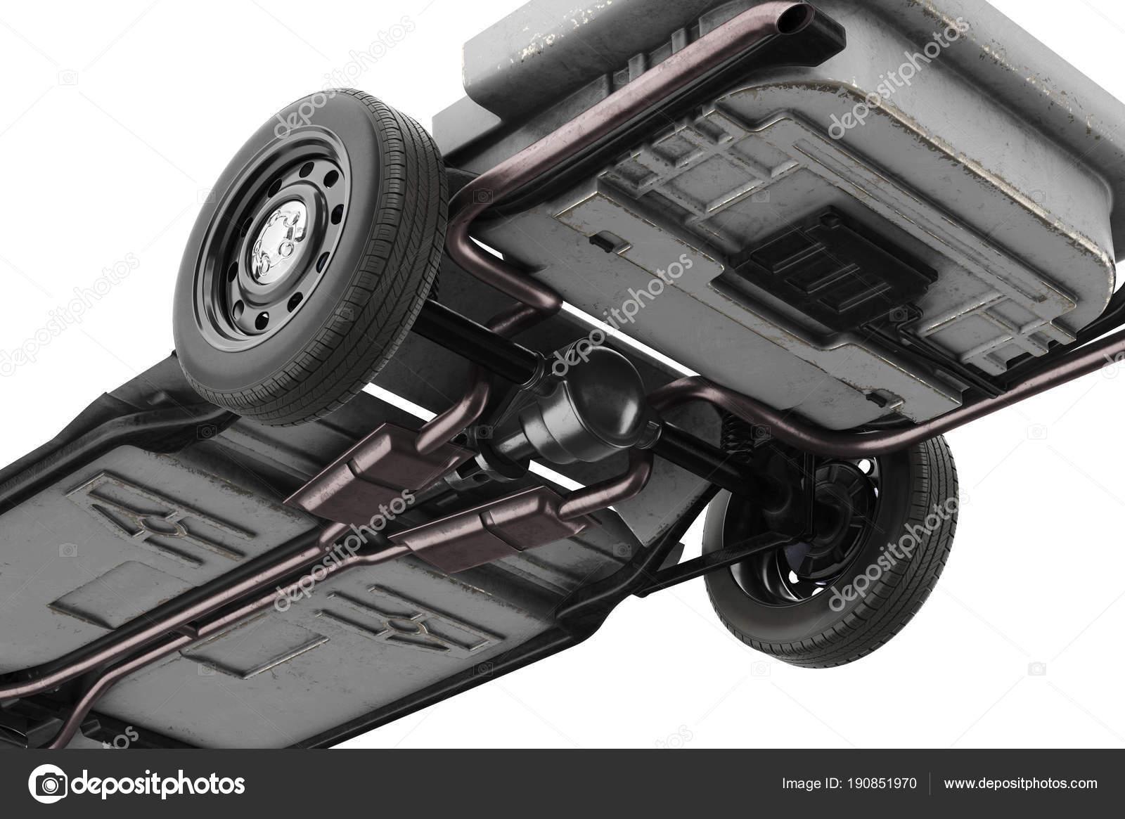 Chassis Rahmen Auto, in der Nähe, Ansicht von unten — Stockfoto ...