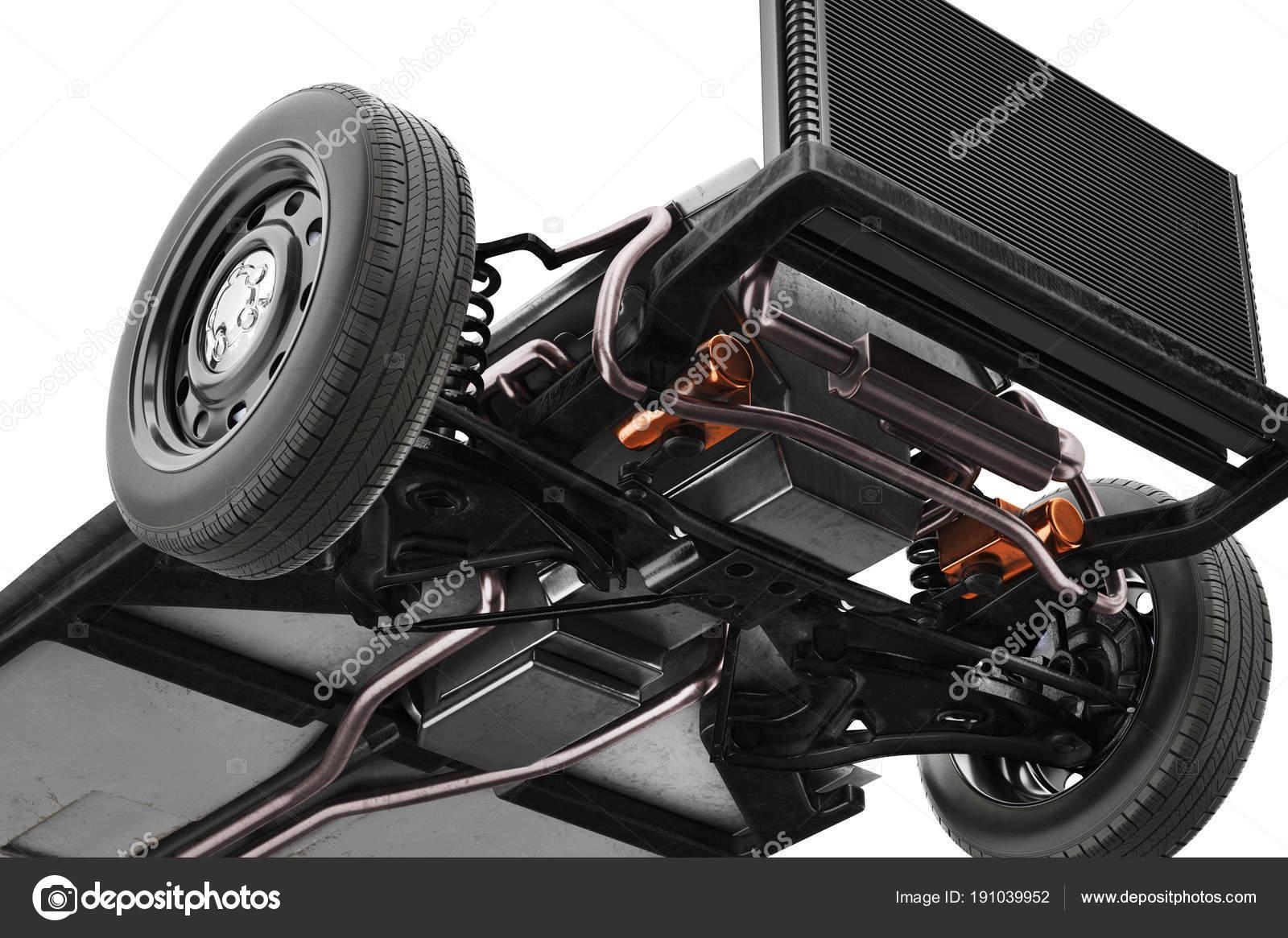 Chassis Rahmen Auto, Ansicht von unten, in der Nähe — Stockfoto ...
