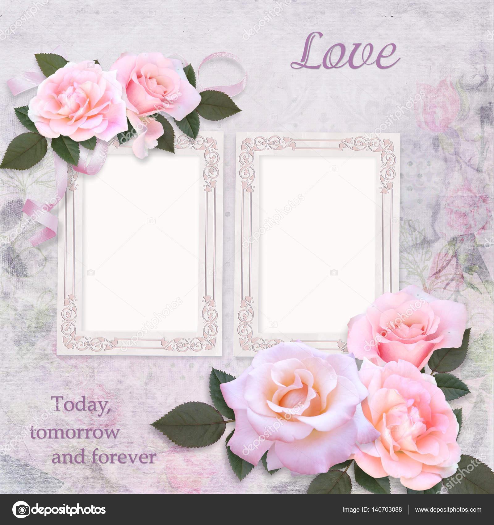 Vintage frames and pink roses on a romantic vintage background ...
