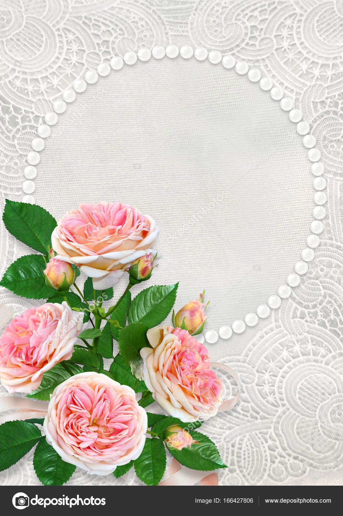 Beautiful Pink Roses On A Lace Vintage Background With Frame Of Pearls And Space For Text Photo By Glaz