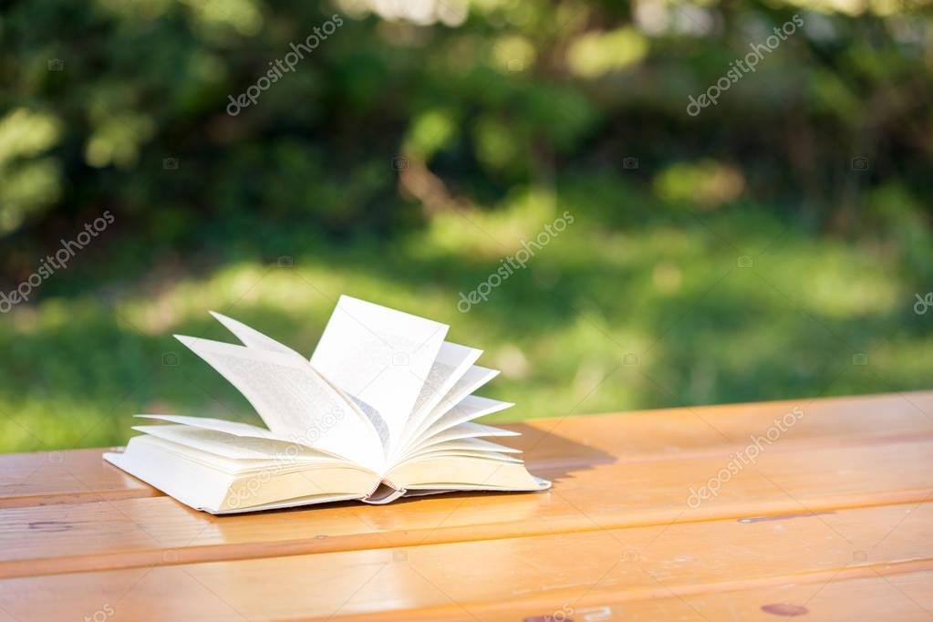 Book on a table in the wind