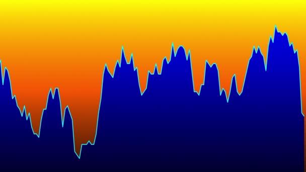 Modrá čára graf na oranžové pozadí grafu akciového trhu investičního obchodování
