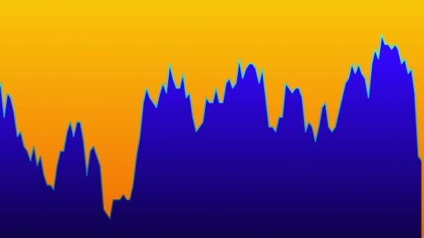 Modrá čára graf na oranžové pozadí grafu akciového trhu investičního obchodování.