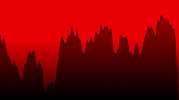 černá spojnicový graf na červeném pozadí grafu akciového trhu investičního obchodování