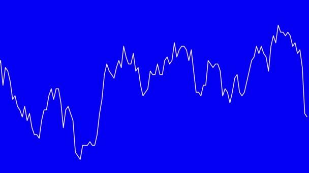 bílá čára graf na modrém pozadí grafu akciového trhu investičního obchodování
