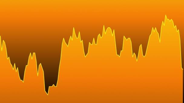orange line graph on orange background chart of stock market investment trading.