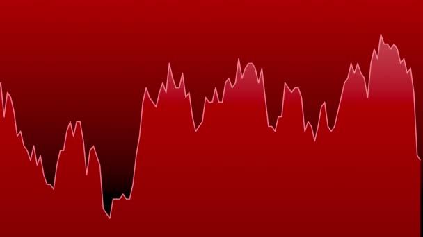 červená čára graf na červeném pozadí grafu akciového trhu investičního obchodování.