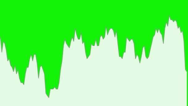 bílá čára graf na zeleném pozadí grafu akciového trhu investičního obchodování.