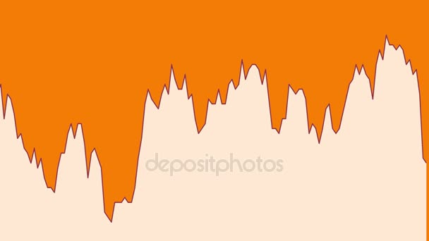 white line graph on orange background chart of stock market investment trading.