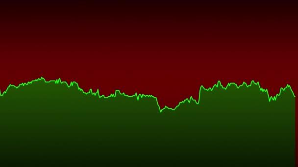 zelená čára graf na červeném pozadí grafu akciového trhu investičního obchodování.