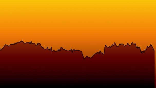 černá spojnicový graf na oranžové pozadí grafu akciového trhu investičního obchodování.