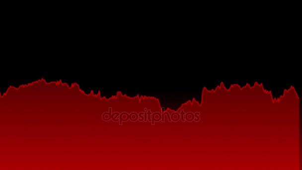 červená čára graf na černém pozadí grafu akciového trhu investičního obchodování.