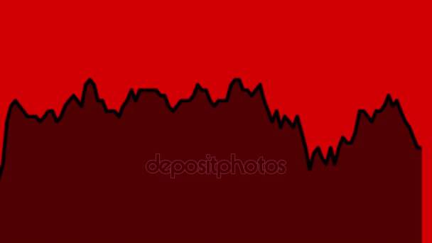 černá spojnicový graf na červeném pozadí grafu akciového trhu investičního obchodování.