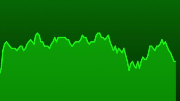 zelená čára graf na zeleném pozadí grafu akciového trhu investičního obchodování.
