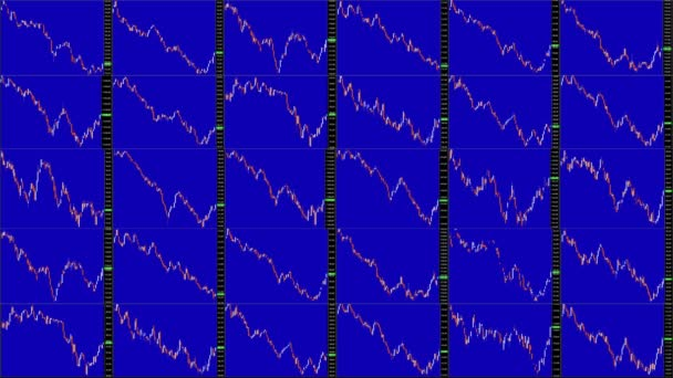 Timelapse screen. Slow time. Market technical analysis. Trading range