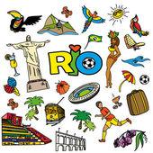 Velký kreslený sada brazilské šablon