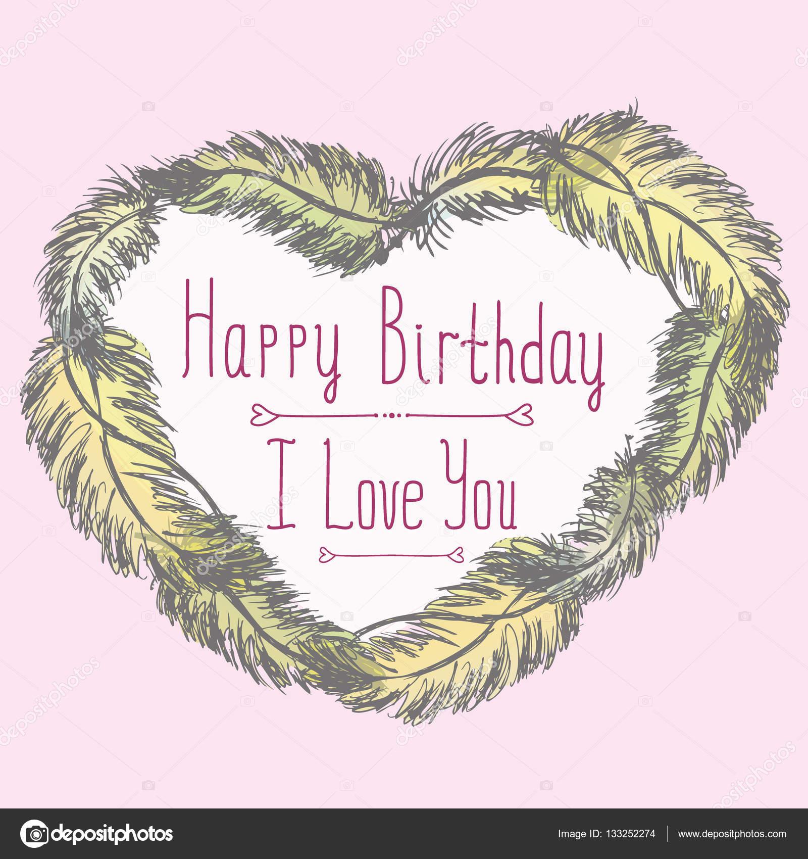 Alles Gute zum Geburtstag, ich liebe dich, niedliche Karte mit ...