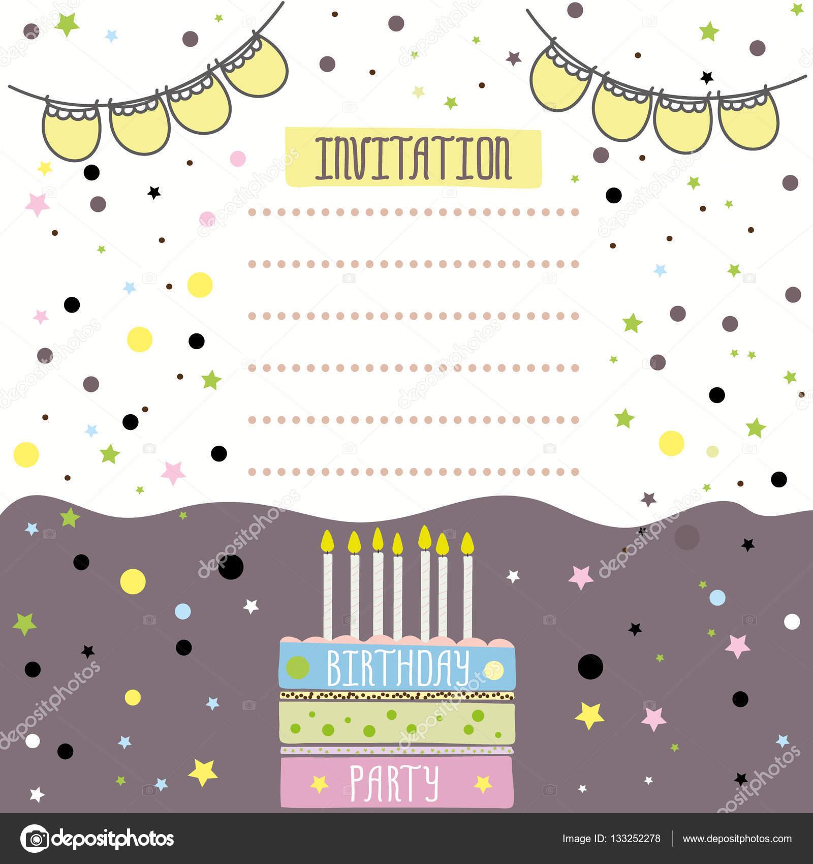 Happy birthday invitation card design stock vector naum100 happy birthday invitation card design vector illustration vector by naum100 stopboris Choice Image
