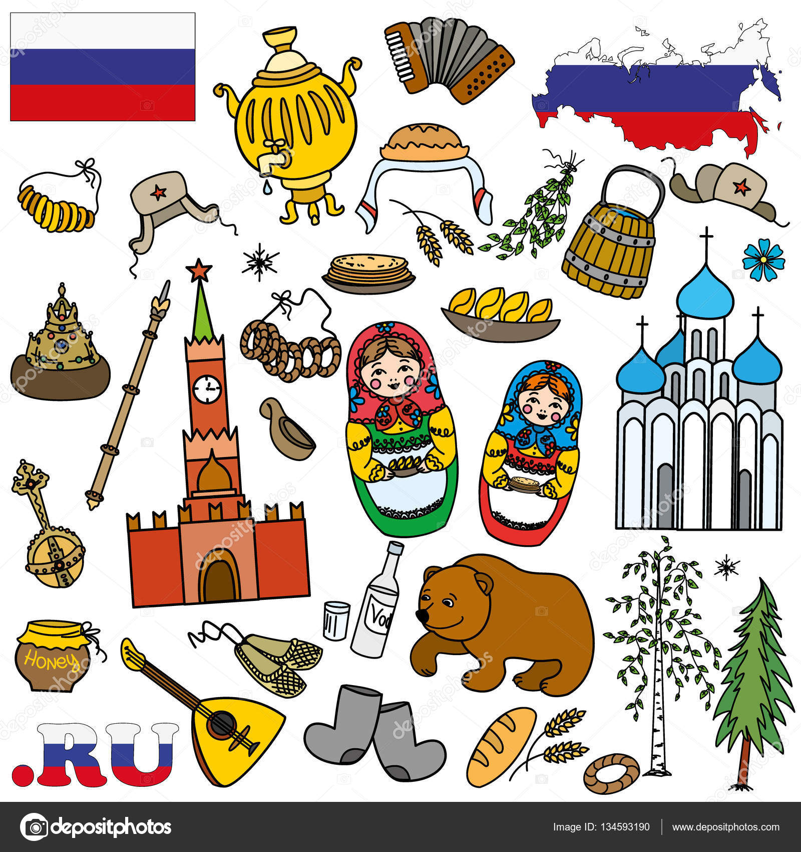 russian symbols travel russia russian traditions set of colorful flat style design vector illustration vector by naum100