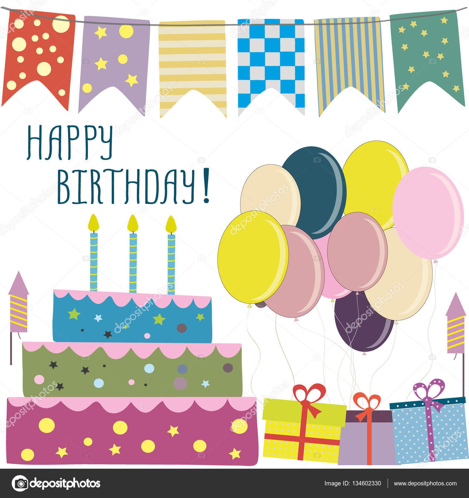 Happy birthday card flags cake ts balloons — Stock Vector