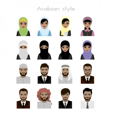 Set - face Arab women and man  avatar,